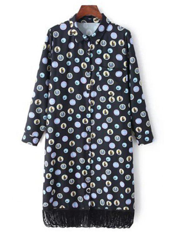 women's Polka Dot Fringed Shirt Dress - BLACK XS