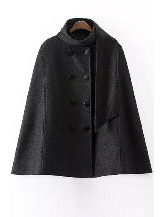 women Solid Color Cape Stand Collar Woolen Coat - BLACK S