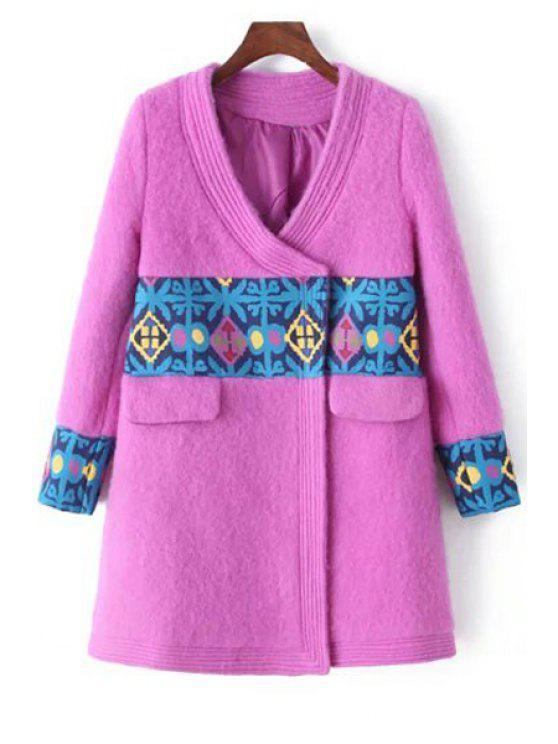 chic V-Neck Long Sleeve Spliced Pink Coat - PINK S