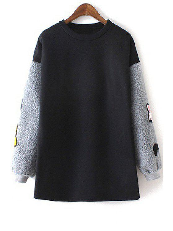 outfits Lamb Wool Spliced Round Collar Long Sleeves Sweatshirt - BLACK ONE SIZE(FIT SIZE XS TO M)