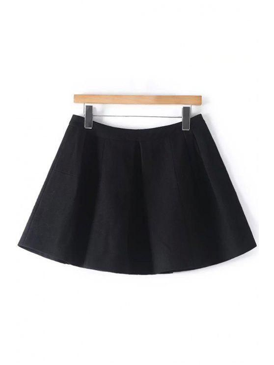 hot Solid Color A Line Woolen Skirt - BLACK S