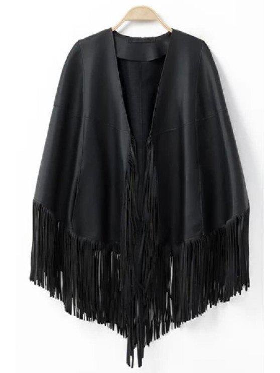 lady Tassels PU Leather Solid Color Cape Coat - BLACK ONE SIZE(FIT SIZE XS TO M)