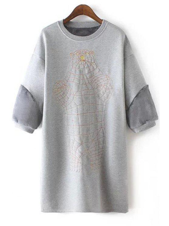 chic Embroidery Print Thicken 3/4 Sleeves Sweatshirt Dress - GRAY S