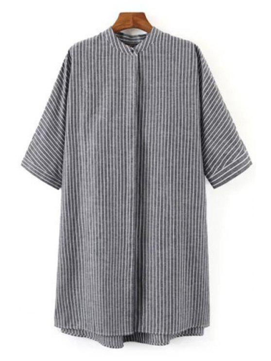 trendy Striped Print Stand Collar Half Sleeves Shirt - GRAY M