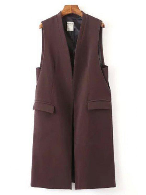 Bolsillos de Color Sólido Chaleco largo - Vino Rojo S