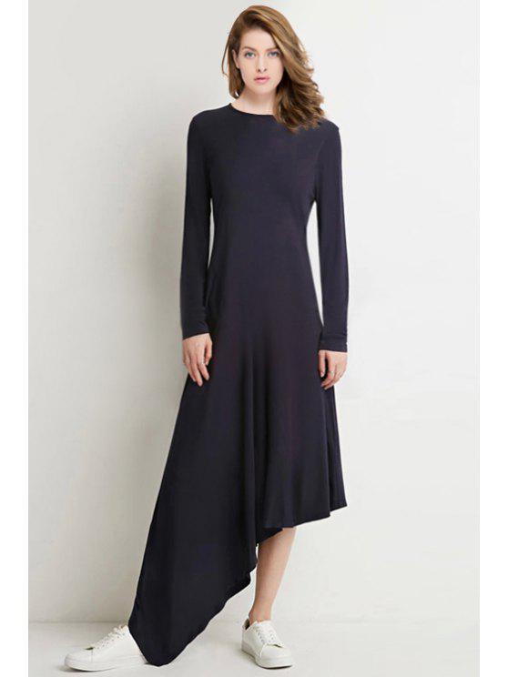chic Long Sleeve Black Asymmetrical Dress - BLACK M