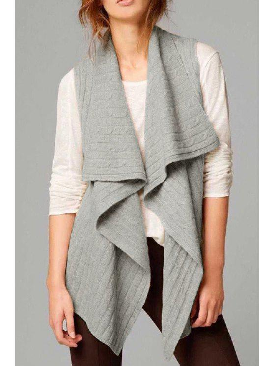 chic Solid Color Turtle Neck Cotton Blend Cardigan Waistcoat - GRAY S