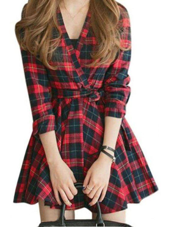 buy Long Sleeve Plaid Fit and Flare Dress - RED S