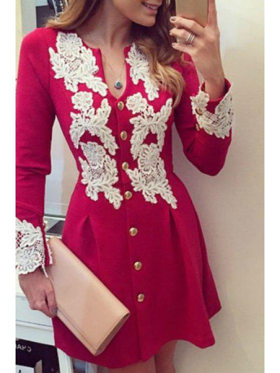 ladies Single-Breasted Lace Spliced Fit and Flare Dress - RED S
