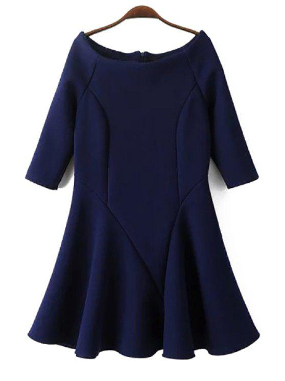 buy Flounce Slash Neck Half Sleeve Dress - PURPLISH BLUE S