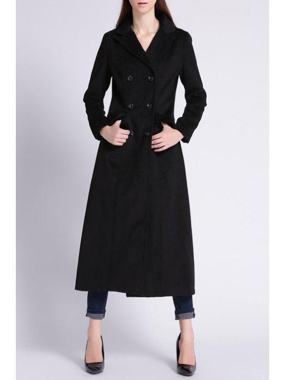 sale Lapel Long Sleeve Double-Breasted Black Coat - BLACK S