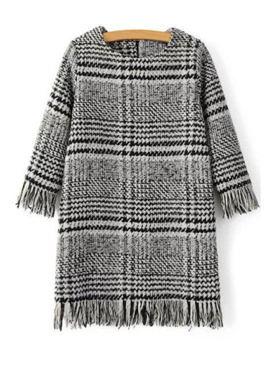 women's Houndstooth Jewel Neck 3/4 Sleeve Dress - GRAY M