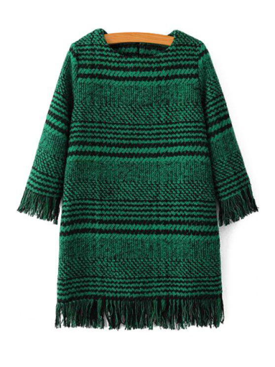 Houndstooth Jewel Neck 3/4 Sleeve Dress - Vert M