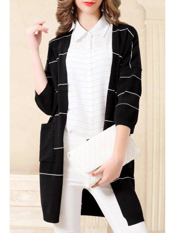 sale Striped Thin 3/4 Sleeves Cardigan - BLACK ONE SIZE(FIT SIZE XS TO M)