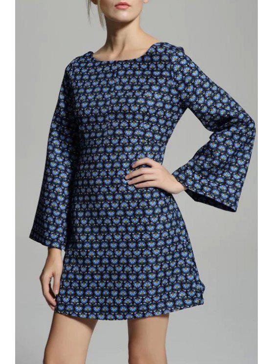 womens Tiny Flower Scoop Neck Flare Sleeve Dress - PURPLISH BLUE S
