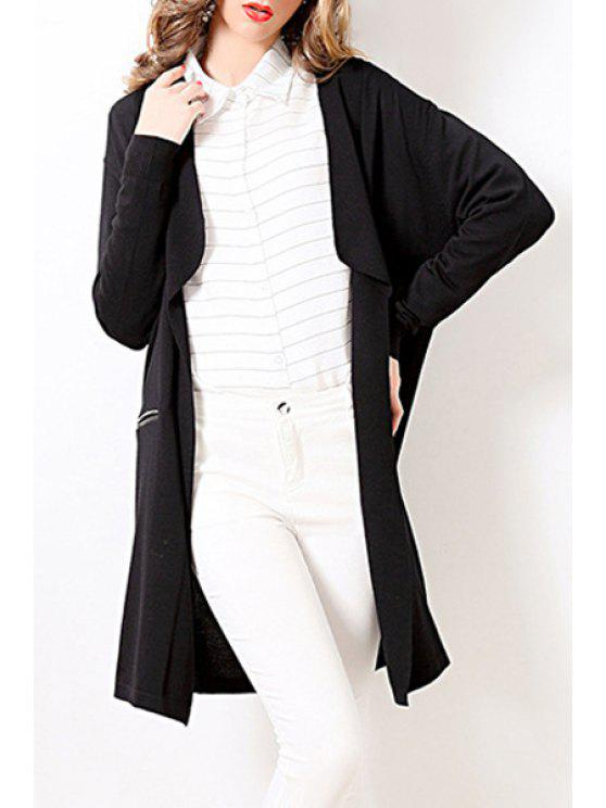 buy Solid Color Turn-Down Collar Thin Cardigan - BLACK ONE SIZE(FIT SIZE XS TO M)