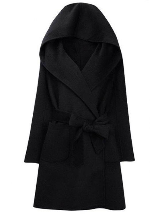 women's Hooded Self-Tie Belt Two Pockets Coat - BLACK S
