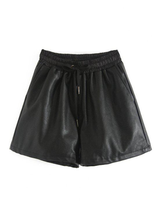 fancy Faux Leather Elastic Waist Drawstring Shorts - BLACK S