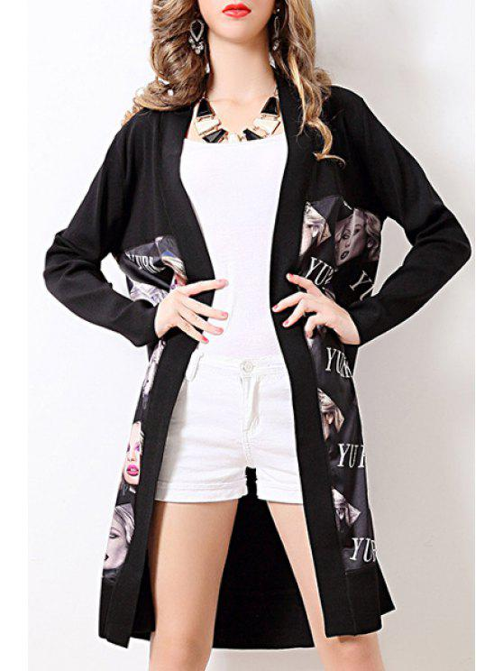 women Printed Long Sleeves Long Cardigan - BLACK ONE SIZE(FIT SIZE XS TO M)