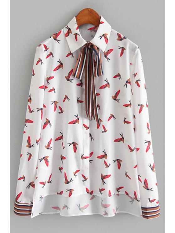 outfits Full Birds Print Long Sleeve High Low Shirt - WHITE S