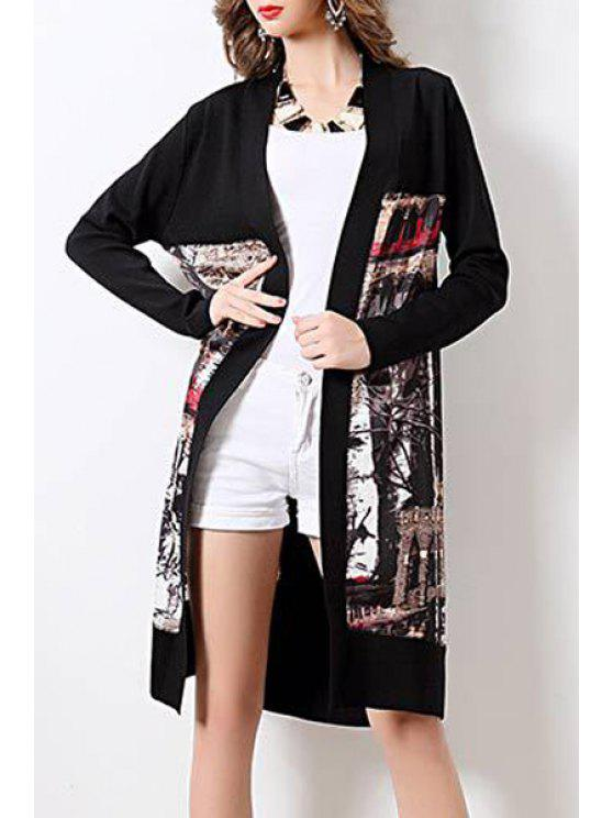 women's Long Printed Long Sleeves Cardigan - BLACK ONE SIZE(FIT SIZE XS TO M)