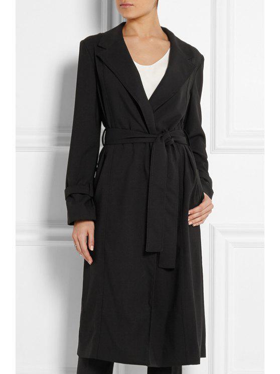 unique Lapel Long Sleeve Belted Black Coat - BLACK S