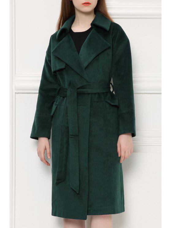 hot Lapel Loose Fit Green Coat - BLACKISH GREEN S