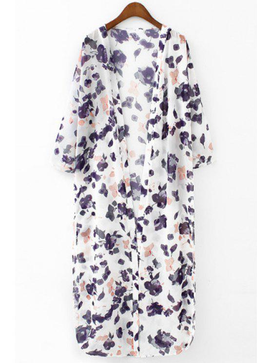 fancy Purple Floral Print Long Sleeve Blouse - WHITE S