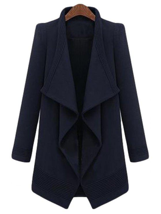 womens Large Lapel Irregular Hem Coat - PURPLISH BLUE ONE SIZE(FIT SIZE XS TO M)