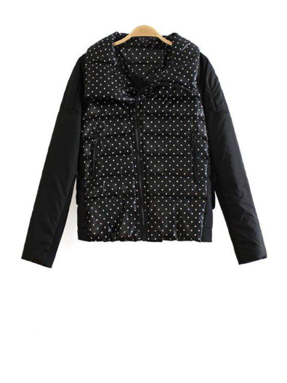 affordable Polka Dot Turn Down Collar Down Coat - BLACK S