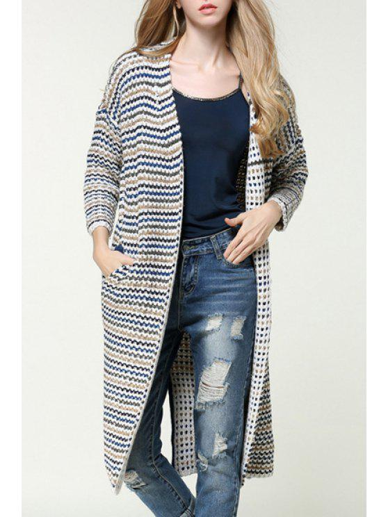 hot Back Slit Striped Thicken Pockets Long Cardigan - YELLOW ONE SIZE(FIT SIZE XS TO M)