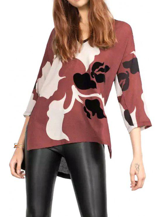 buy Floral Print V Neck 3/4 Sleeve T-Shirt - BRICK-RED S