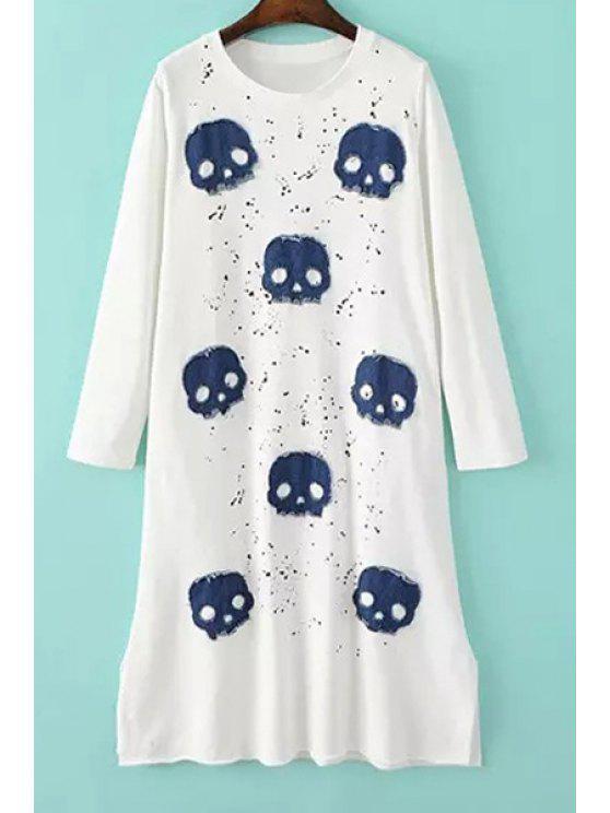 outfits Skull Pattern Jewel Neck Long Sleeve Dress - WHITE S