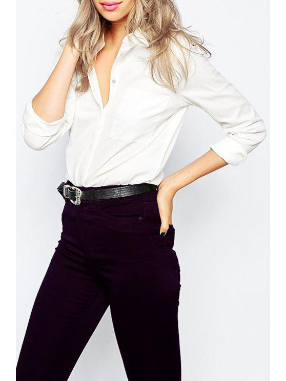trendy Long Sleeve One Pocket White Shirt - WHITE XS
