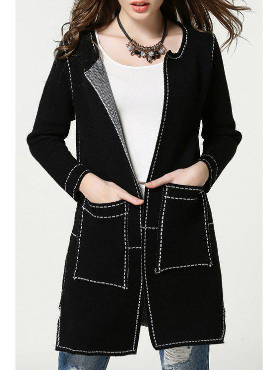 shop Pockets Thicken Long Sleeves Long Cardigan - BLACK ONE SIZE(FIT SIZE XS TO M)
