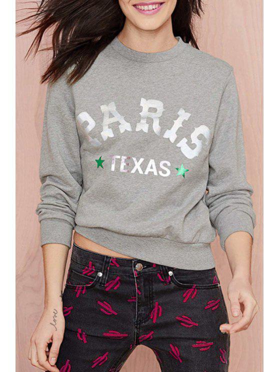 trendy Jewel Neck Letter Print Gray Sweatshirt - GRAY XS