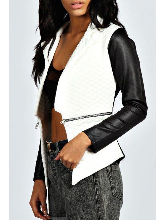 online PU Leather Spliced Argyle Pattern Long Sleeves Jacket - WHITE AND BLACK S