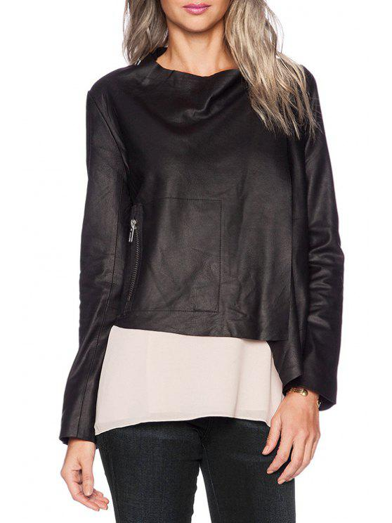 outfits Black PU Leather One Button Jacket - BLACK XS