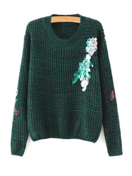 outfits Sequins Jewel Neck Long Sleeve Jumper - BLACKISH GREEN S