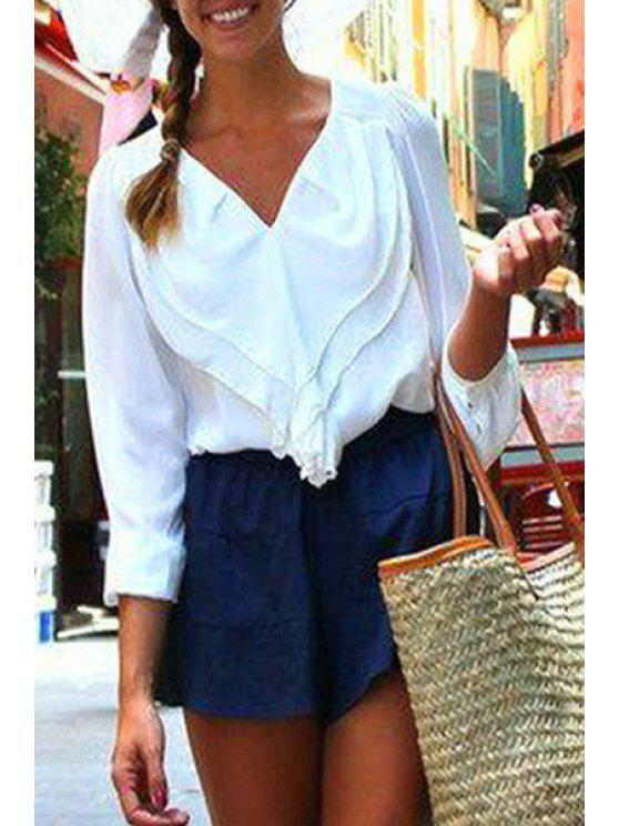 fashion Solid Color V-Neck Long Sleeves Chiffon Shirt - WHITE S