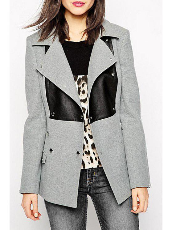 lady Lapel PU Detail Double-Breasted Coat - GRAY XL
