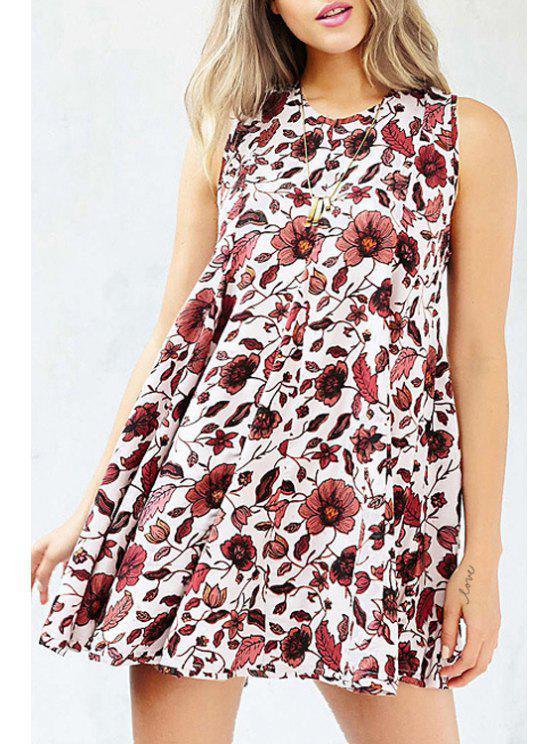 shop Hollow Back Floral Print Flare Dress - WHITE XS