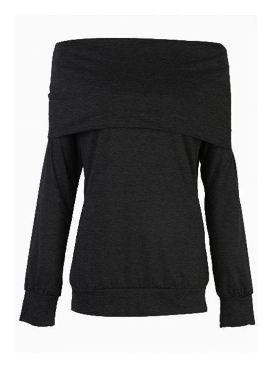 outfits Solid Color Off The Shoulder Long Sleeves T-Shirt - BLACK M