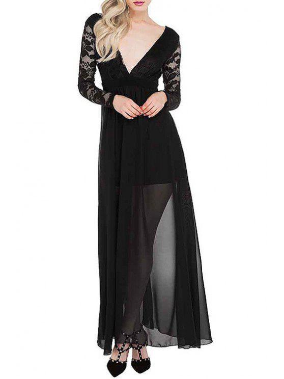 online Deep V Neck Low Back Chiffon Maxi Dress - BLACK XL