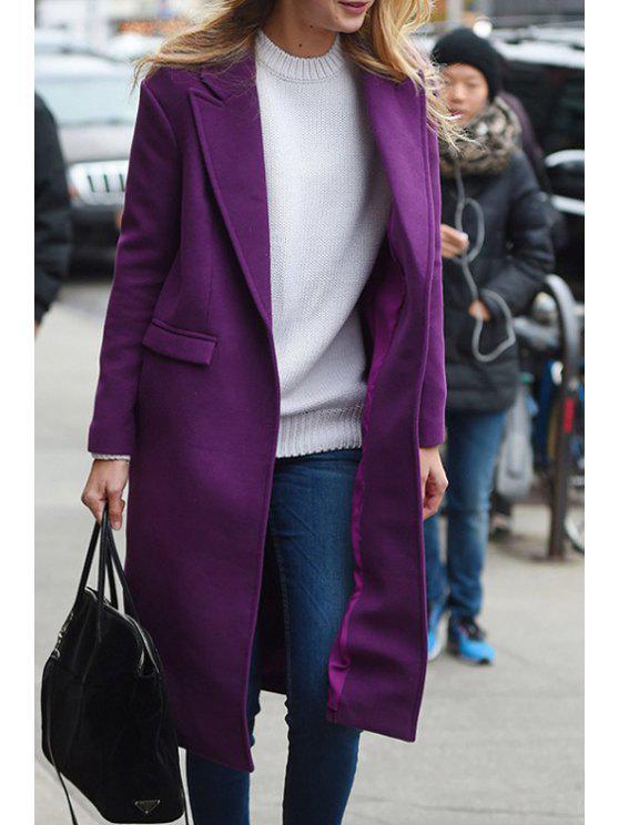 fancy Lapel Pocket Design Purple Coat - PURPLE S