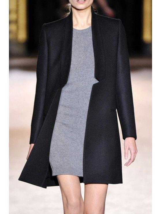 latest Notched Pocket Design Wool Coat - BLACK S