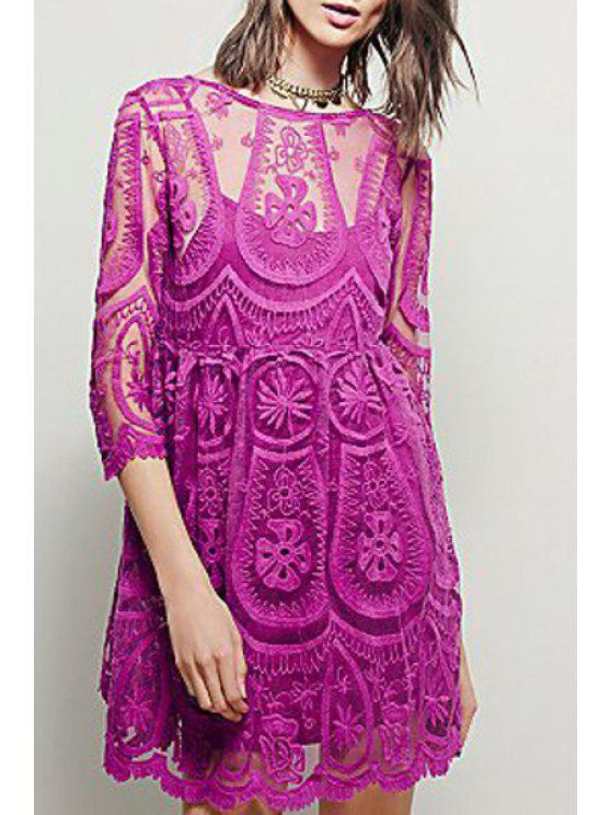 new See-Through Lace 3/4 Sleeves Dress - PINK S