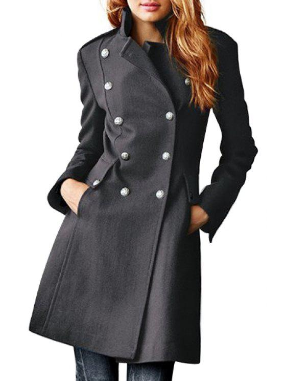 shops Lapel Double-Breasted Pocket Wool Coat - GRAY M