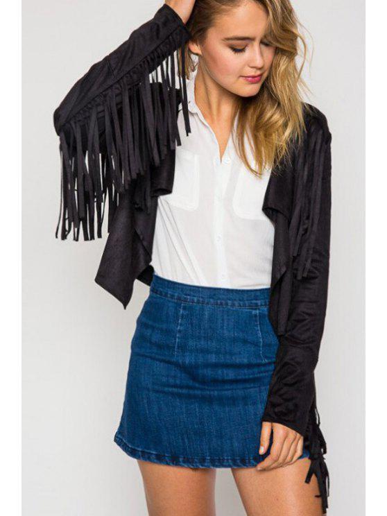 chic Faux Suede Fringe Long Sleeve Jacket - BLACK S