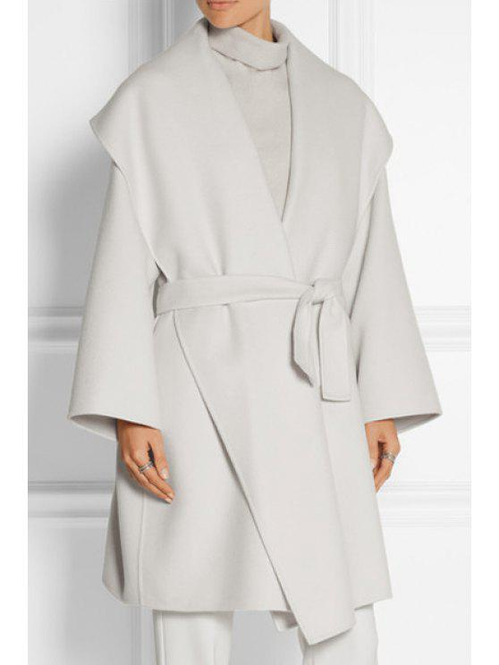 buy Large Lapel Self-Tie Belt Wrap Coat - WHITE S